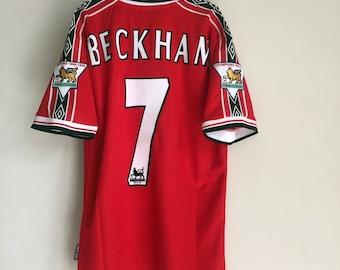 d4b250e7e 1998-1999 Manchester United David Beckham Soccer Jersey Home