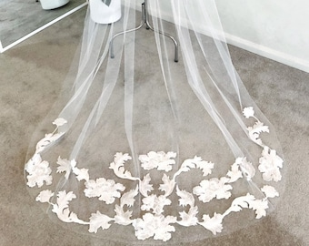 Cathedral Length Veil With Lace Appliqué