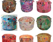 Indian Cotton Patchwork Ottoman Pouf Cover Ethnic Handmade Footstool Pouf Cover Decor