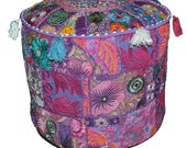 Indian Patchwork Round Ottoman Pouf Cover, Floor Pillows Floor Cushion Cover Bohemian Vintage Pouffe Footstool Cover Bean Bag Sitting Pouf