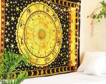 56471ef52 Zodiac Sign Celestial Wall Hanging Tapestry Poster Astrological Sun Moon  Horoscope Psychedelic Tapestry Wall Tapestry Mandala Boho Tapestry