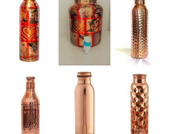 PRURA Copper Water Bottle Diamond Regular Pure Copper Bottle Yoga Water Bottle Ayurveda Health Benefits Leak Proof 900ml//30oz, Design 10