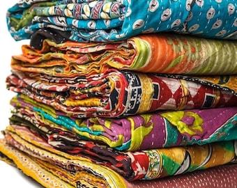 Vintage Kantha Quilt, Sari Coverlet, Sundance Kantha Throw Recycle Fabric