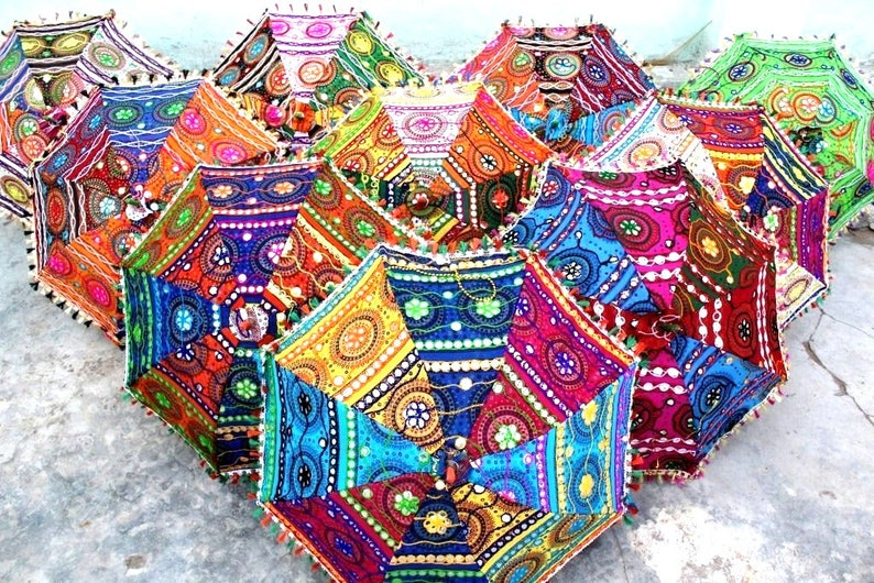 50 Pc Lot Indian Hand Embroidered Decorative Parasol Vintage Sun Shade Umbrella