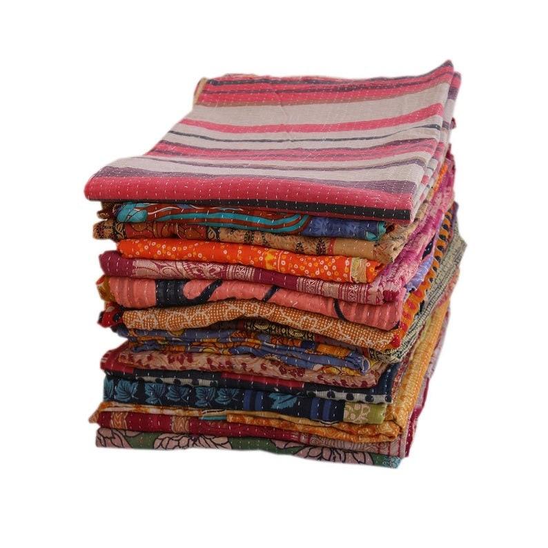 Vintage Kantha Quilt Sundance Kantha Throw Recycle Fabric Sari Coverlet