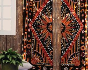 Bohemian Window Curtain Mandala Tapestry Decor Throw cotton Window Curtains Decor Queen Size 2 PCs