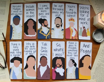 Hamilton Quote Bookmarks with Characters - Gifts/Musical Gifts/Lafayette/Lin Manuel Miranda/Hamilton the Musical/Alexander/Schuyler/Burr