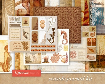 VINTAGE SCRAPBOOK PRINTABLES - Downloadable pdf - Seaside, Beach, Ocean, Sand, Summer, Summertime, Sepia, Lace - Junk Journal Printable