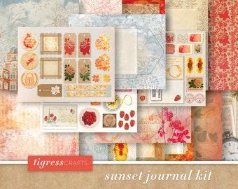 Junk Journal Kit - Digital Patterned Paper, Botanical, Bees, Secret Garden, Peony, Peonies, Vintage - Digital Paper Instant Download