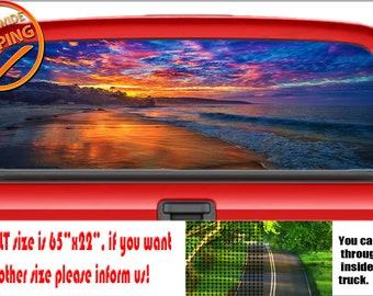 ISLAND SUNRISE Rear Window Graphic truck view thru vinyl decal back