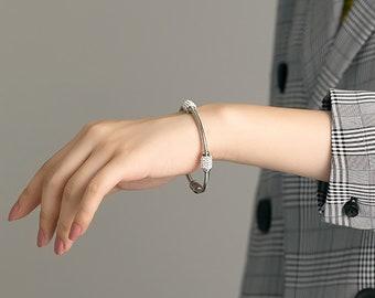 Bracelet  Rhodium Plated Brass  1pcs  1-kb007 Free Size 6.6mm Oval Cutting Shape Bangle  Handmade Bangle