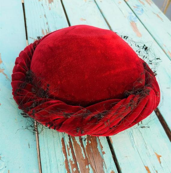 Garnet Red Velvet Hat, Red Vintage Hat,  Red Velve