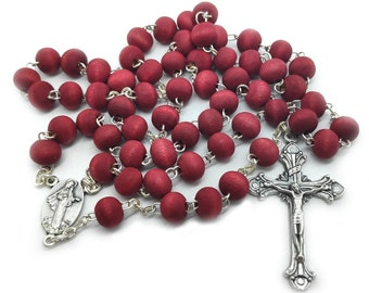 Woman Red Rosary Fragrant Rose Petal Our Lady Jesus Rosary From Medjugorje + BOX