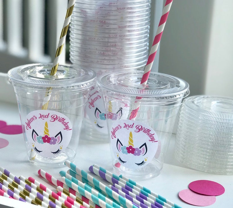 Set of 24 Personalized Unicorn Disposable Burthday Party Cups Lids Straws