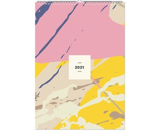 Family 2021 Wall Calendar, 2021 Wall Planner, Geometric, A3 Size, 330 Stickers