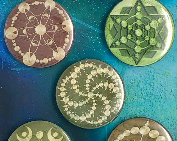 Lot of 5 Magnets 37mm - Crop Circles - A