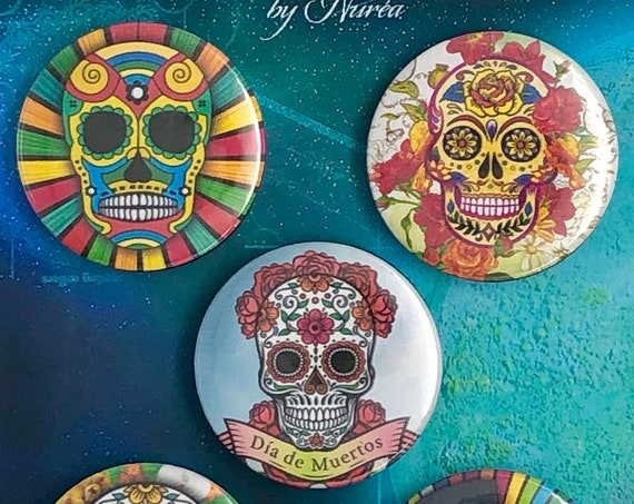 Lot of 5 Magnets 37mm - Dia de los Muertos / Skulls