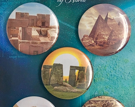 Lot of 5 Magnets 37mm - Archaeological Sites