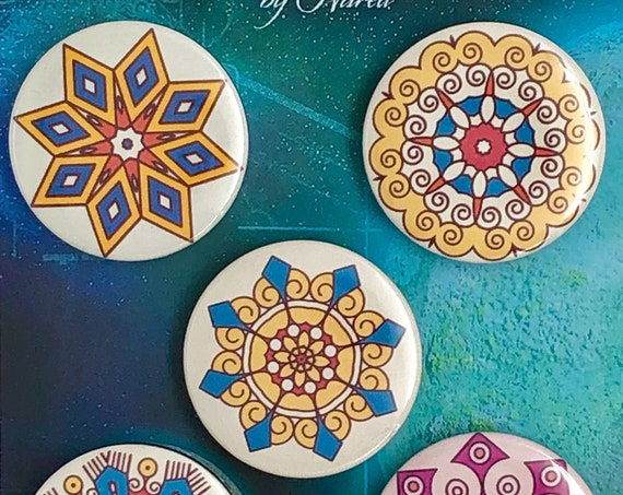 Lot of 5 Magnets 37mm - Mandalas