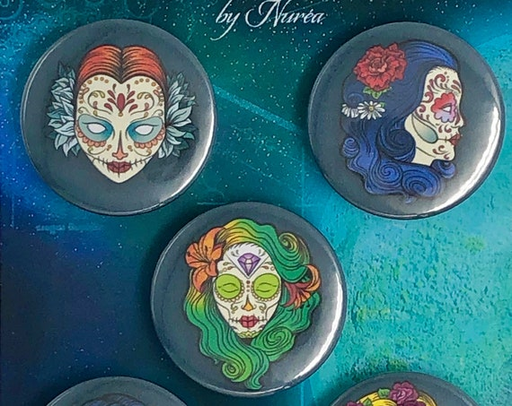 Lot of 5 Magnets 37mm - Dia de los Muertos / Women