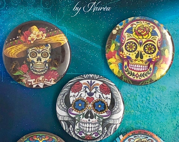 Lot of 5 Magnets 37mm - Day of the Dead / Skulls