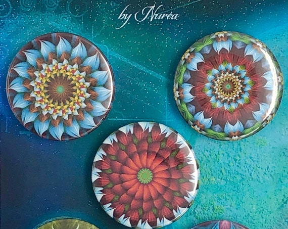Lot of 5 Magnets 37mm - Mandalas Flowers