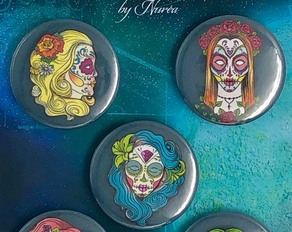 Lot of 5 Magnets 37mm - Day of the Dead / Women