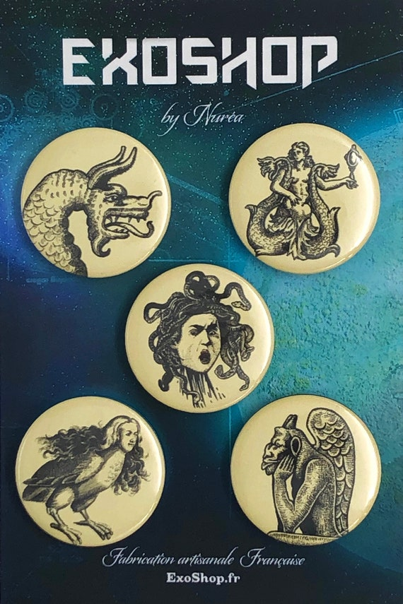 Lot of 5 Magnets 37mm - Myths - Legends