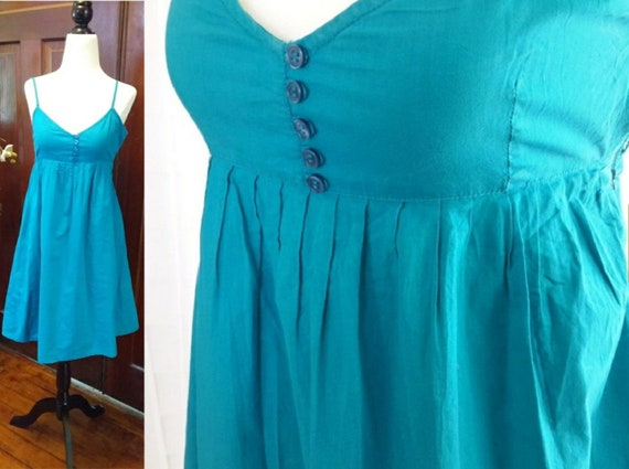 Vintage Teal Cotton Sundress/Sundress/Boho Dress