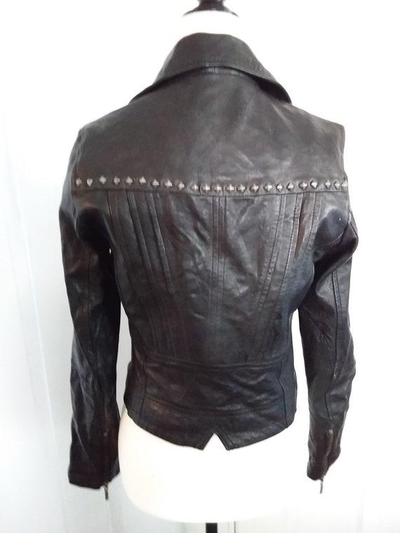 Faux Leather Motorcycle Jacket/Vintage Motorcycle… - image 4