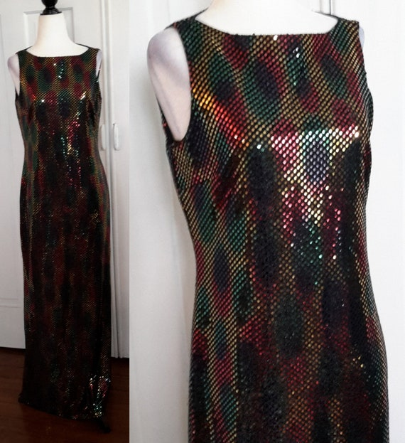 Vintage Sequin Gown/Evening Gown/Christmas Gown/Ch