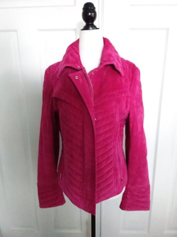 Pink Suede Jacket/Pink Motorcycle Jacket/Vintage S