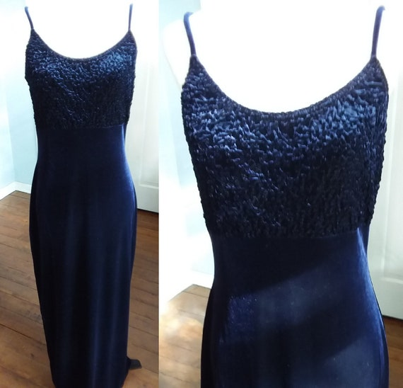 Navy Velvet Gown/Vintage Blue Velvet Dress/Evening