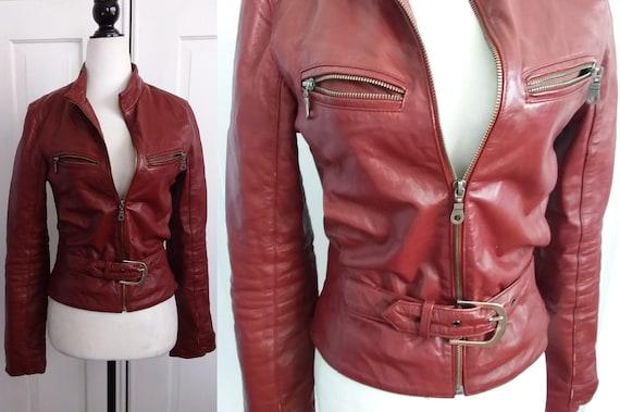 Red Leather Motorcycle Jacket/Vintage Motorcycle J