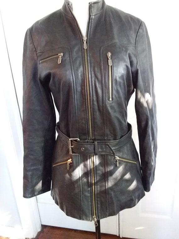 Black Motorcycle Jacket/Womens Motorcycle Jacket/V