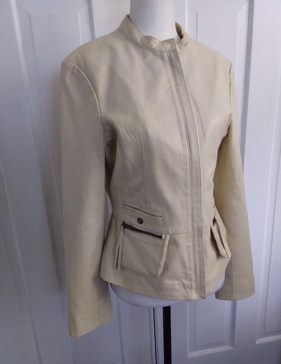 Beige Leather Jacket/Leather Motorcycle Jacket/Vi… - image 3
