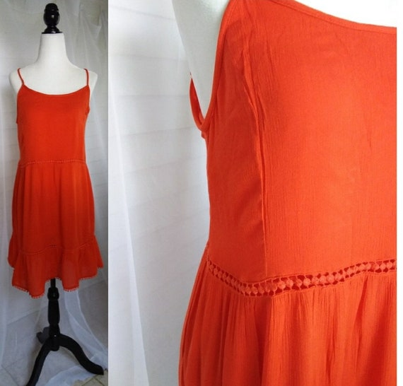 Vintage Orange 70s Sundress/70s Boho Summer Dress/