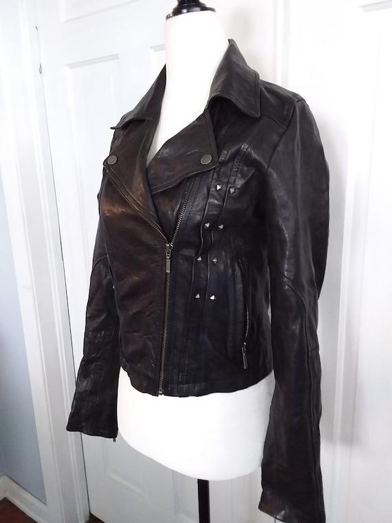 Faux Leather Motorcycle Jacket/Vintage Motorcycle… - image 2