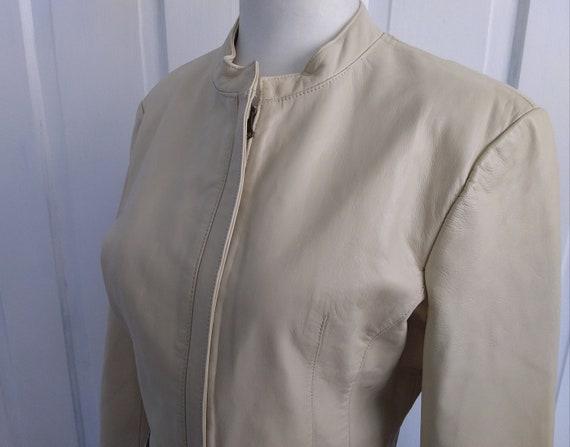 Beige Leather Jacket/Leather Motorcycle Jacket/Vi… - image 4