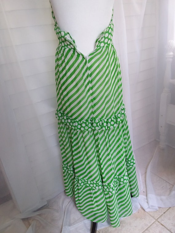 Vintage 60s Sundress/60s Boho Dress/60s Green Dre… - image 6
