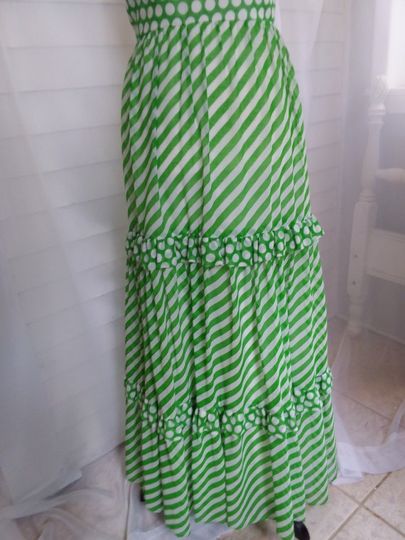 Vintage 60s Sundress/60s Boho Dress/60s Green Dre… - image 4