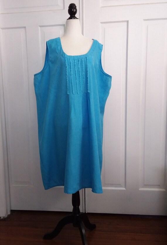 Turquoise Linen Vintage Dress/4X Linen Dress/100%