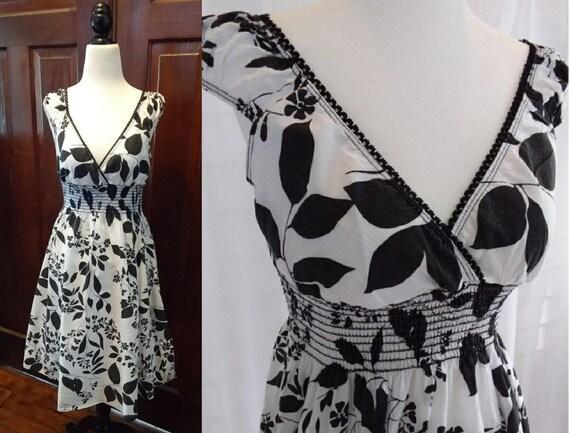 Black and White Vintage Cotton Dress/Womens Dresse