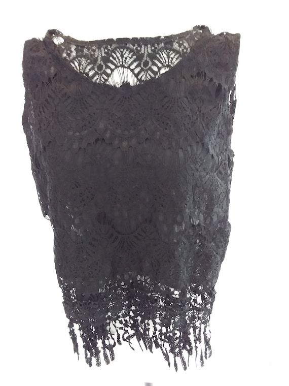 Black Lace Top/Vintage Lace - image 2