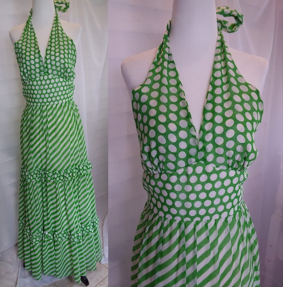 Vintage 60s Sundress/60s Boho Dress/60s Green Dre… - image 1