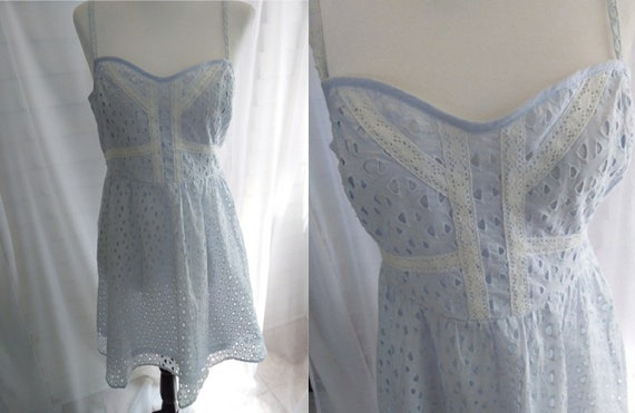 Vintage Sundress/70s Sundress/Blue Eyelet Sundress