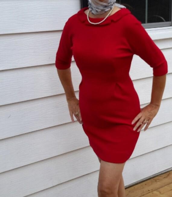 50s Wool Dress/Vintage Dress/Mad Men Dress/50s Wig