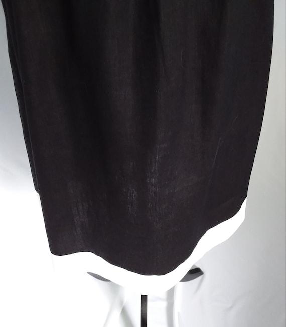 Vintage Linen Dress/Large Black Linen Dress - image 7