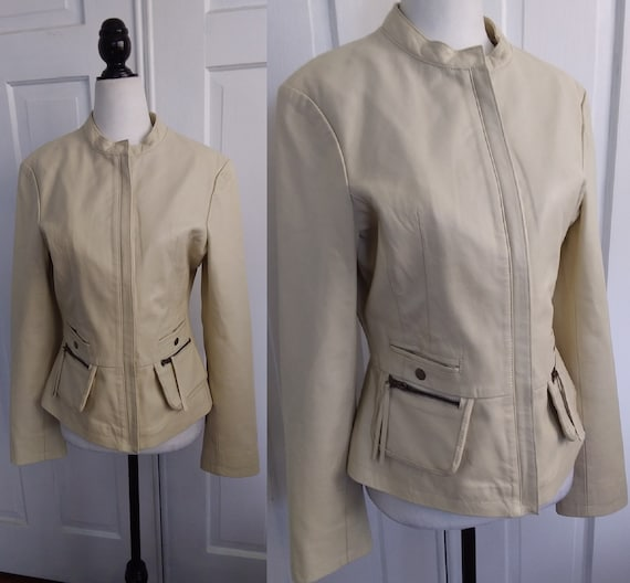 Beige Leather Jacket/Leather Motorcycle Jacket/Vin