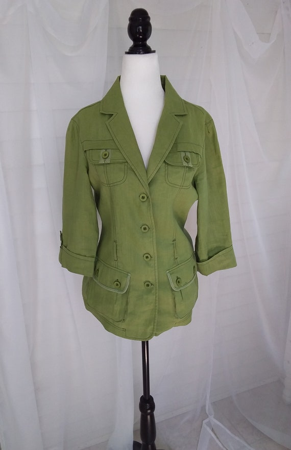 Vintage Linen Jacket/Green Linen Jacket